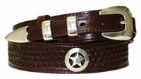 "4519 BasketWeave Ranger Concho Leather Belt - 1 1/2"" - 3/4"" Wide"