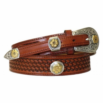 "4522 Ranger Full Grain Basket-weave Embossed Leather Belt - 1 1/2"" - 3/4"" Wide"