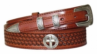 "4525 Christian Cross Ranger Full Grain Basket-weave Embossed Leather Belt - 1-3/8"" Wide - Billet 3/4"""