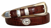 4529 Fullerton Golf Flag Embossed Calfskin Leather Belt