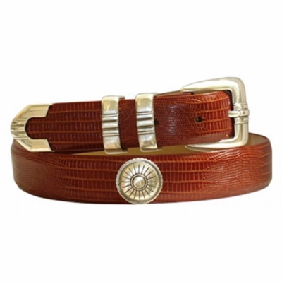 "4536 Desert Italian Calfskin Embossed Leather Dress Belt - 1 1/8"" wide"