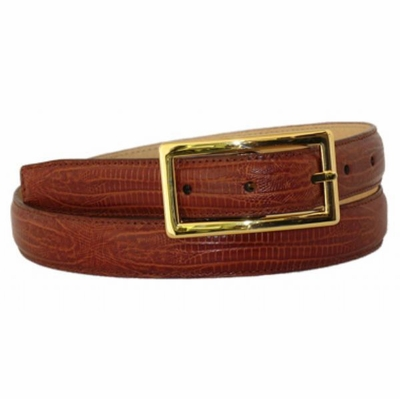 "4543 Lizard Embossed Leather Dress Belt - 1"" wide"