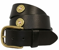 "4555  Shotgun Shell 12 Gauge Full Grain Leather Belt - 1 1/2"" wide"