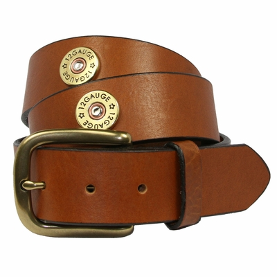 "4555XL Shotgun Shell 12 Gauge Full Grain Leather Belt - 1 1/2"" wide XL SIZES"