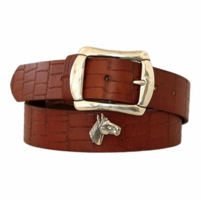 4556 Embossed Full Grain Leather Belt 1 1/2 wide