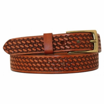"4603 Basket-weave Embossed Full Grain Leather Belt - 1 1/8"" wide"