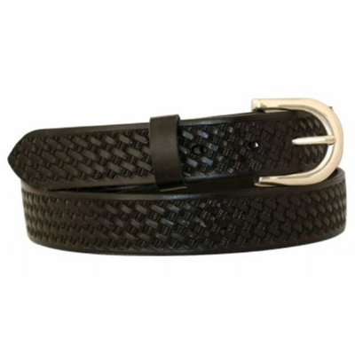 "4607 Basket-weave Embossed Full Grain Leather Belt - 1 1/8"" wide"