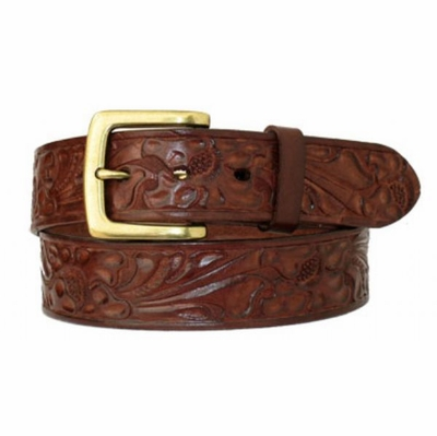 "4615 Floral Embossed Full Grain Leather Belt - 1 1/2"" wide"