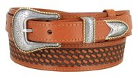 "4629 Traditional Ranger Basket-weaved Genuine Leather Belt - 1 1/2"" - 1"""