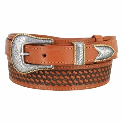 "4629 Traditional Ranger Basket-weaved Genuine Leather Belt - 1 1/2"" - Wide - Billet 1"""