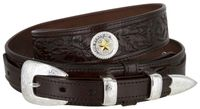 "4640 Floral Embossed Full Grain Ranger Leather Belt - 1 1/2"" Wide - Billet 3/4"""