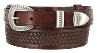 "4641 Traditional Ranger Basket-weave Embossed Full Grain Leather Belt - 1 1/2"" - Wide - Billet 1"""