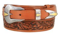 "4642 Floral Embossed Full Grain Leather Belt - 1 1/2"" - 1"" Wide"