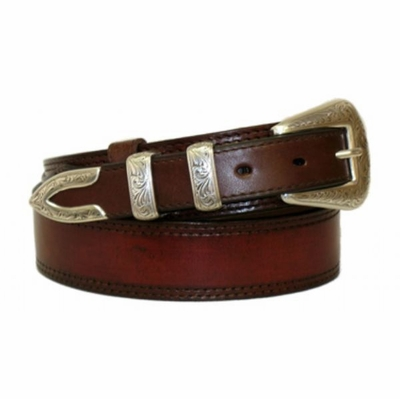 "4644 Traditional Smooth Western Ranger Full Grain Leather Belt - 1 1/2"" - 1"" Wide"