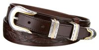 "4647 Traditional Ranger Style Floral Embossed Full Grain Leather Belt - 1 1/2"" - 1"" Wide"