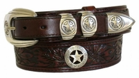 "4653 Floral Embossed Ranger Full Grain Leather Belt - 1 1/2"" - 1"" Wide"
