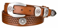 "4654 Texas Seal Ranger Basket-Weave Embossed Full Grain Leather Belt - 1-3/8"" Wide - Billet 1"""