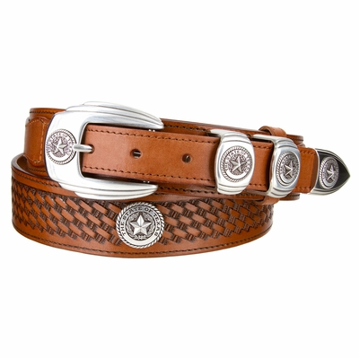 "4654 Texas Seal Ranger Basket-Weave Embossed Full Grain Leather Belt - 1 1/2"" - 1"" Wide"