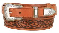 "4655 Traditional Ranger Floral Embossed Full Grain Leather Belt - 1 1/2"" - 1"" Wide"