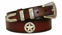 "4656 Traditional Western Smooth Ranger Full Grain Leather Belt - 1 1/2"" - 1"" Wide"