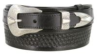"4660 Traditional Basket-Weave - Western Ranger Full Grain Leather Belt - 1 1/2"" - Wide - Billet 1"""