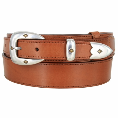 "4661 Traditional Smooth Full Grain Leather South-Western Ranger Belt - 1 1/2"" - 1"" Wide"