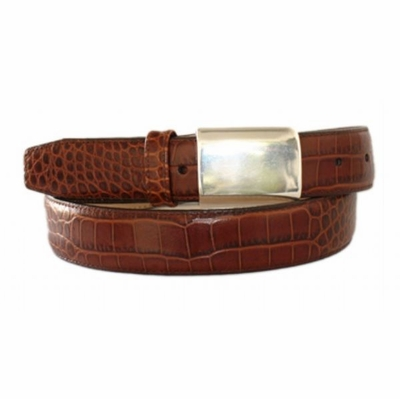 "4671XL Embossed Calfskin Leather Dress Belt with Silver Belt Buckle - 1 1/4"" wide"
