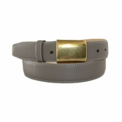 "4672  Brass Buckle Leather Dress Belt - 1 1/4"" wide"