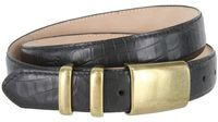 "4672 Men's Alligator Embossed Leather Belt - 1 1/4"" wide BLACK"