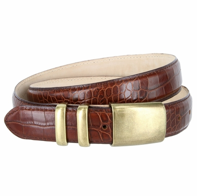 "4672 Men's Alligator Embossed Leather Belt - 1 1/4"" wide BROWN"