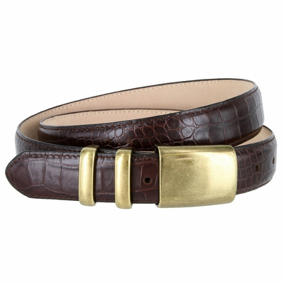 "4672 Men's Alligator Embossed Leather Belt - 1 1/4"" Wide WINE"