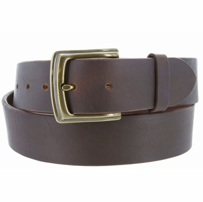 5006 Big and Tall Made in USA 100% Full Grain One-Piece Cowhide Leather Casual Jean - Brass finish buckle