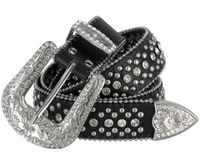 "50116 Rhinestone Crystal Western Leather Belt - 1 1/2"" Wide - Black"