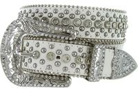 "50116 Rhinestone Crystal Western Leather Belt - 1 1/2"" Wide - WHITE"
