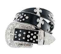 "50121 Rhinestone Crystal Cross Conchos Studded Western Belt - 1 1/2"" Wide - BLACK"