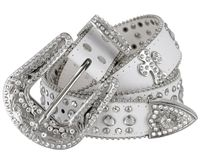 "50121 Rhinestone Crystal Cross Conchos Studded Western Belt - 1 1/2"" Wide - WHITE"