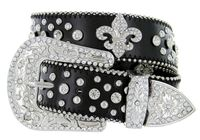 "50124 Rhinestone Crystal Fleur-de-lis Concho Western Leather Belt - 1 1/2"" Wide - BLACK"