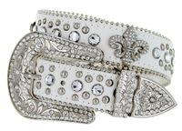 "50124 Rhinestone Crystal Fleur-de-lis Concho Western Leather Belt - 1 1/2"" Wide - WHITE"