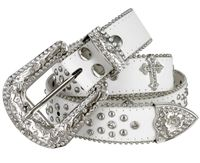 "50127 Rhinestone Crystal Cowgirl Western Leather Belt - 1 1/2"" Wide - WHITE"