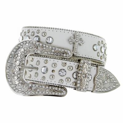 50127 Western Cross Rhinestone Leather Belt - WHITE
