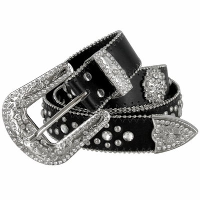 "50128 Genuine Leather Rhinestone Berry Conchos Studded Belt - 1 1/2"" WIDE BLACK"