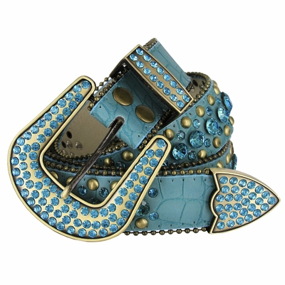 "50158 Rhinestone Crystal Western Alligator Embossed Leather Belt - 1 1/2"" Wide - TEAL"