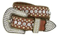 "50158 Rhinestone Crystal Western Alligator Embossed Leather Belt - 1 1/2"" Wide - BROWN"