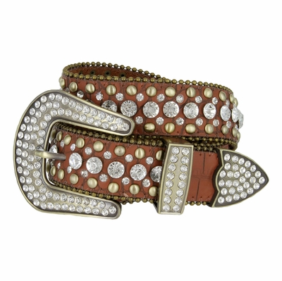"50158 Women's Western Rhinestone Studded Belt - 1 1/2"" BROWN"
