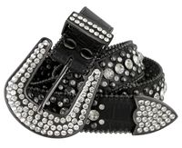 "50158 Rhinestone Crystal Western Alligator Embossed Leather Belt - 1 1/2"" Wide - BLACK"