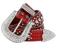 "50158 Rhinestone Crystal Western Alligator Embossed Leather Belt - 1 1/2"" Wide - RED"