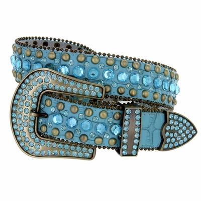 "50158 Women's Western Rhinestone Studded Belt - 1 1/2"" Wide - TEAL"