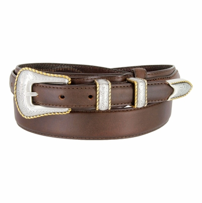 5539 Gold Rope Edge Ranger Western Dress/Casual Cowhide Leather Belt - 1 3/8 Wide - Billet 3/4""