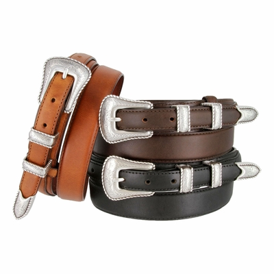 5539 Silver Edge Men's Genuine Leather Ranger Belt