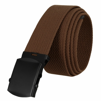 """5810 Military Belt Canvas, Black Finish Buckle Web Belt - One Size fits all - 1-1/2"""" Wide - BROWN"""